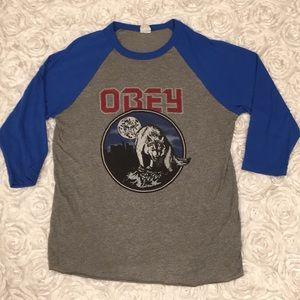 Women's Obey Baseball Style Wolf Shirt